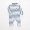 Anchor Pocket Jersey Sleepsuit - Blue Stripe