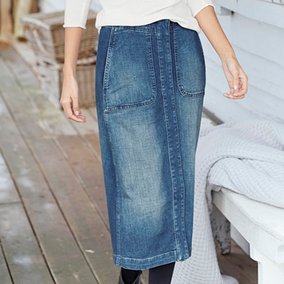 Denim Midi Skirt | Clothing | Offers | The White Company UK
