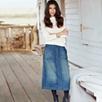 A Line Denim Skirt