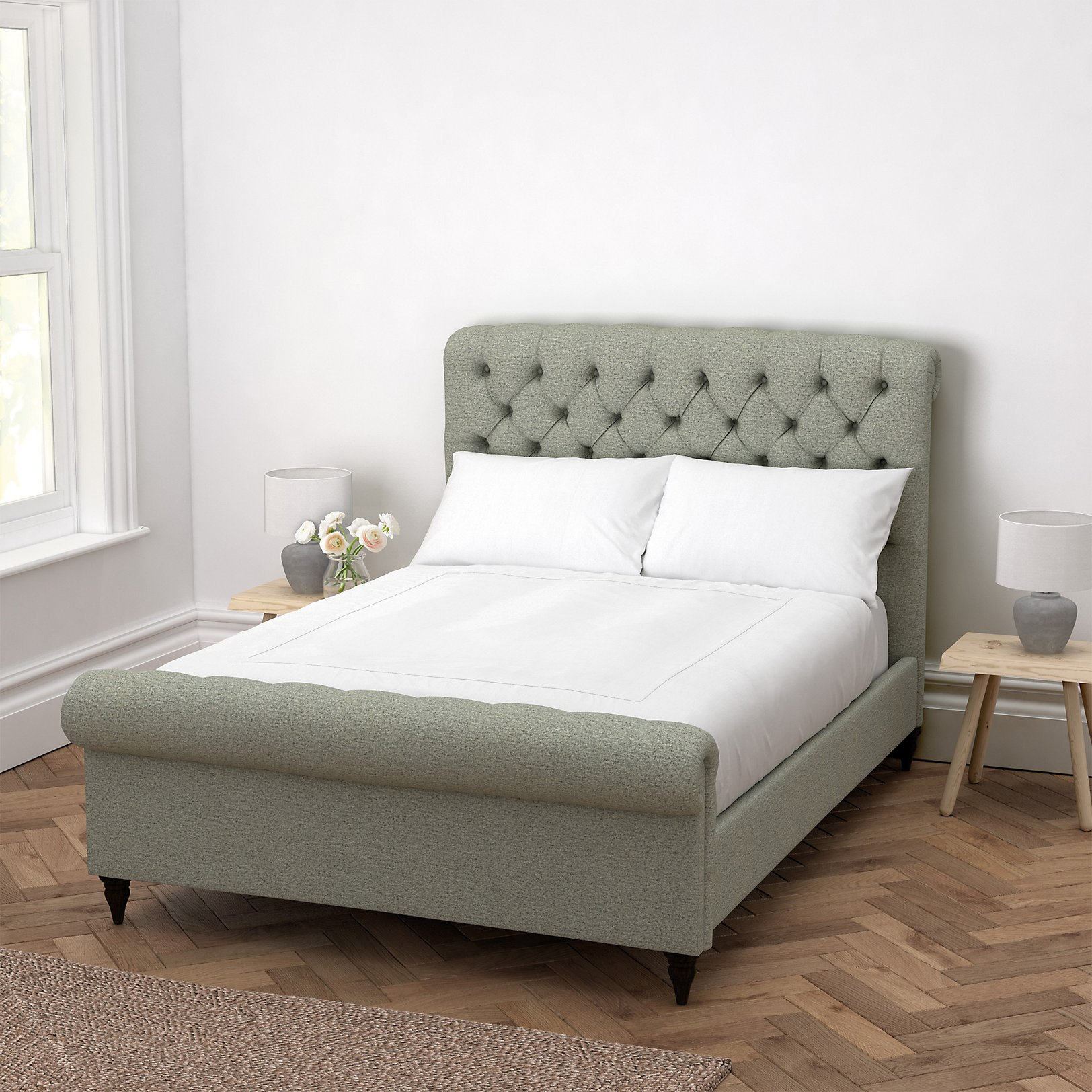 beds  metal wooden  upholstered  the white company uk - aldwych wool scroll bed