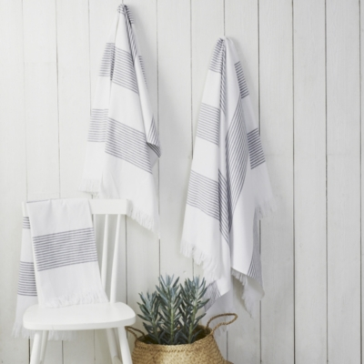 Amalfi Hammam Towel - White Navy