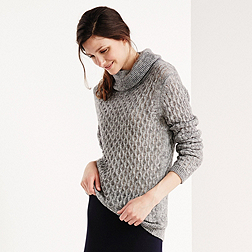 All-Over Stitch Roll Neck Jumper - Grey Marl