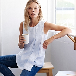 Asymmetric Linen Top