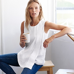 Linen Asymmetric Top