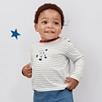 Stripe Astronaut Motif T-Shirt
