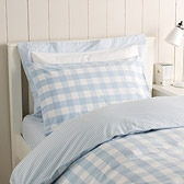 Buy Pale Blue Gingham Cot Bed Linen from The White Company