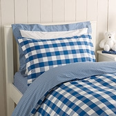 Buy Royal Blue Gingham Cot Bed Linen from The White Company