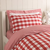 Red Reversible Gingham Bed Linen