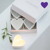 Buy Unscented Ceramic Heart Tealights from The White Company