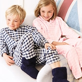 Gingham Flannel Pyjamas - Navy