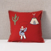 Felt Cowboy Cushion Cover