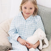 Buy Gingham Flannel Pyjamas - Blue from The White Company