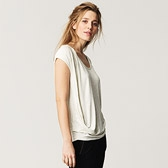 Curved Drapey T-Shirt - Cloud Marl
