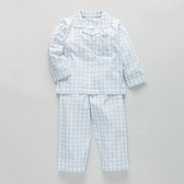 Gingham Flannel Pyjamas - Baby Blue