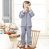 Navy Gingham Flannel Pyjamas - Classic Navy