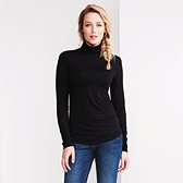 Slinky Roll Neck Top - Black