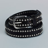 Studded Skinny Leather Belt - Black