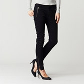 Zip Detail Skinny Trousers - Black
