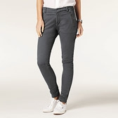 Zip Detail Skinny Trousers - Dark Grey