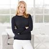Button Split Stripe Sweater