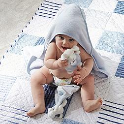 Boys Hooded Bear Towel - Blue