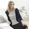 Mesh Back Crew Cardigan - Navy