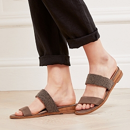 Beaded Double Strap Low Wedges