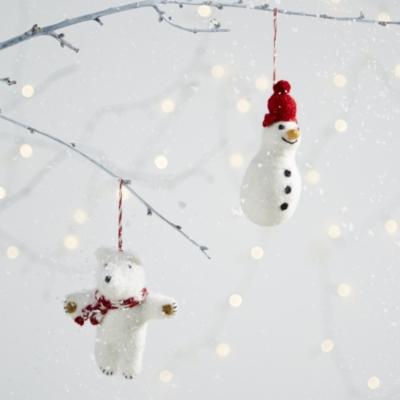 Felted Polar Bear Decoration