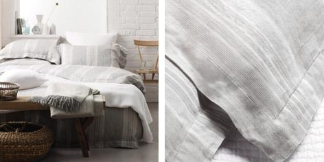 Vintage Washed Linen Stripe Bed Linen