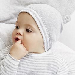 Knitted Bear Ears Hat - Silver Grey Marl