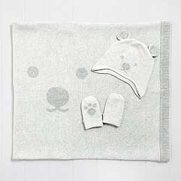 Bear Face Baby Blanket, Hat & Mitt Set