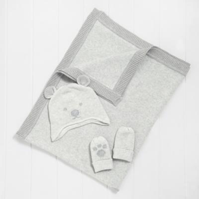 Bear Face Baby Blanket, Hat & Mitt Set