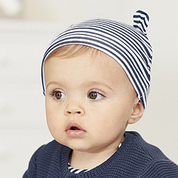 Stripe Bear Ears Hat - Navy