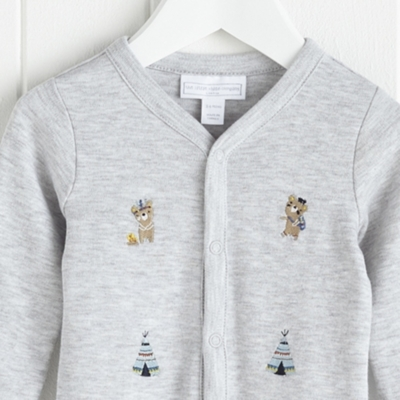 Little Warrior Bear Embroidered Sleepsuit