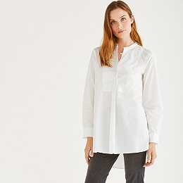 Bib Front Cotton Shirt