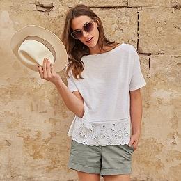 Cotton Broderie Hem T-Shirt