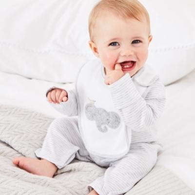 Stripe Sleepsuit & Elephant Bib Set - The White Company