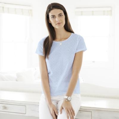 Broderie Jersey T-Shirt - Pale Blue