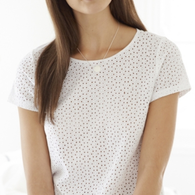 Broderie Jersey T-Shirt - White