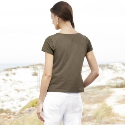 Broderie Jersey T-Shirt - Khaki