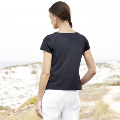 Broderie Jersey T-Shirt - Navy