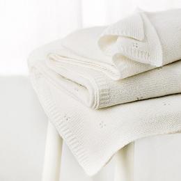 Pointelle Cashmere Blanket  - Alabaster