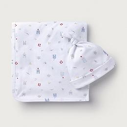 Seaside Print Blanket & Hat Set