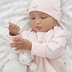 Embroidered Blossom Sleepsuit and Hat Set