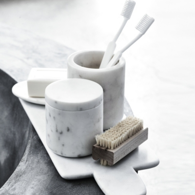 Marble soap dish the white company uk for Marble bathroom accessories uk