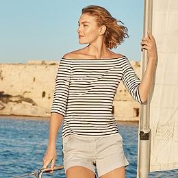 Bardot Neckline Stripe Top