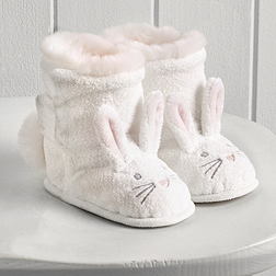 Textured Bunny Booties - White