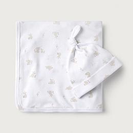 Bunny Print Blanket & Hat Set
