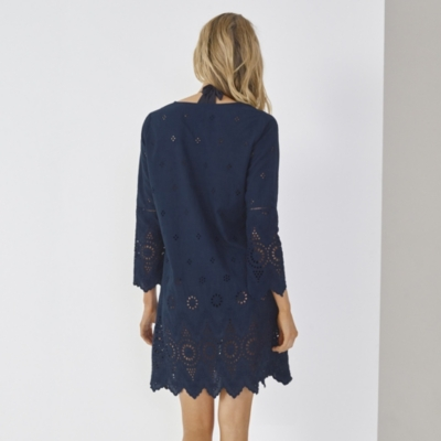Broderie Beach Cover Up - Navy