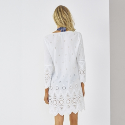 Broderie Beach Cover Up - White